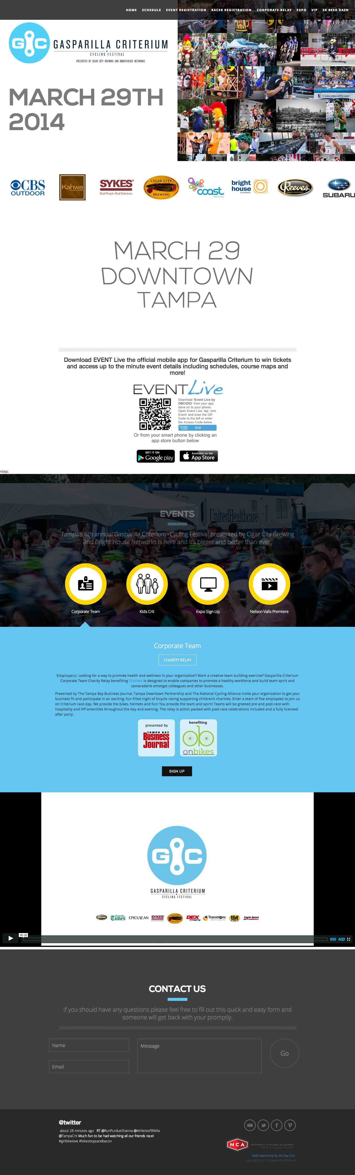 Gasparilla Criterium website designed by BluClay